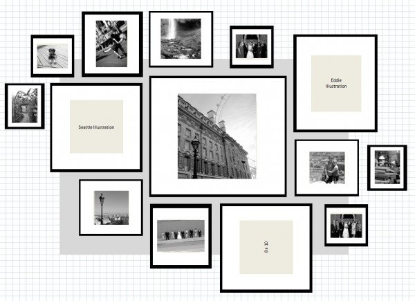 Idee composizioni cornici ikea 600x435 la design for Ikea cornici foto